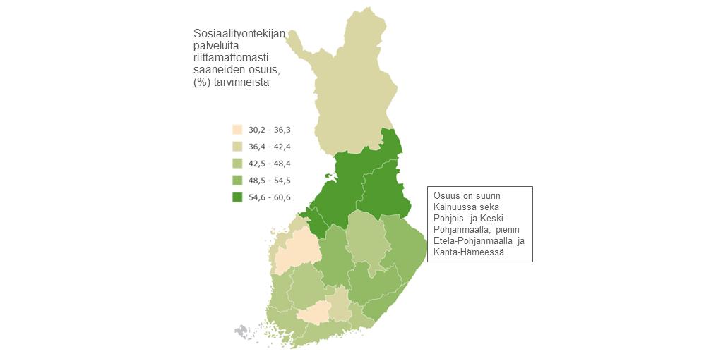 Karttakuva: Sosiaalityöntekijän palveluita riittämättömästi saaneiden osuus maakunnittain.