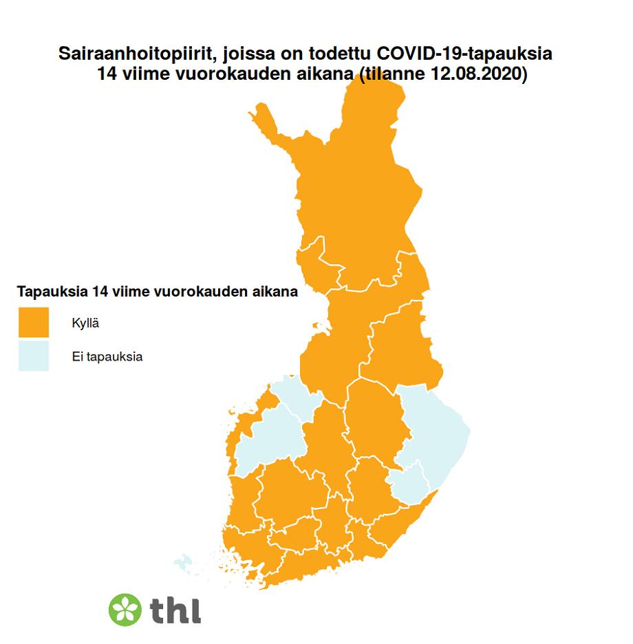 Koronatapauksia oli 12.8. todettu 14 vuorokauden sisään kaikissa muissa maakunnissa, paitsi Pohjois-Karjalassa, Etelä-Savossa, Etelä-Pohjanmaalla ja Keski-Pohjanmaalla.